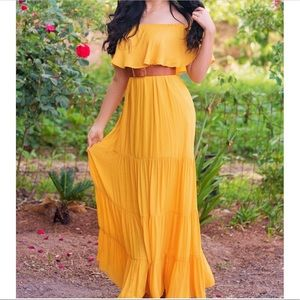 Forever 21 off shoulder yellow maxi dress
